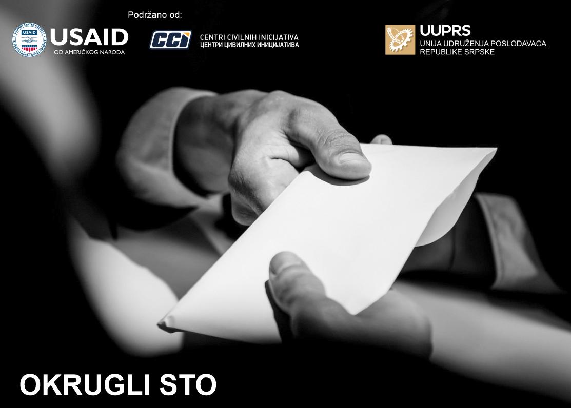 """Najava: Okrugli sto """"Suzbijanje korupcije iz perspektive poslodavaca i Inspektorata"""" – Banja Luka, 15.07.2021. godine"""